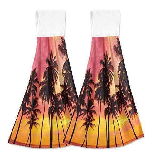 Oarencol Toalla de mano para la cocina, diseño de palmera, color rosa, cielo absorbente, para colgar, con bucle, para baño, 2 unidades