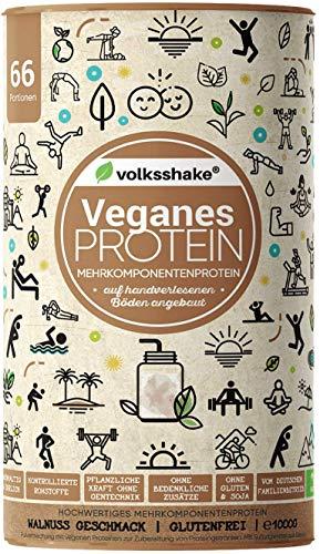 VEGANES PROTEIN WALNUSS - | Volksshake | 1kg | mit Reis-, Hanf-, Chia-, Sonnenblumen- & Kürbiskernprotein |cremig & lecker| sojafrei, glutenfrei…