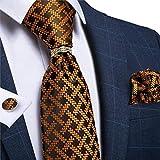DJLHN Corbata de Hombre Corbata de Boda de Seda de Oro Azul Novedad Corbata de Hombre Pañuelo Gemelos Set Business Party Tie - JZ03-7310