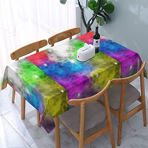 Impresión colorida de la nube a prueba de derrames e impermeable, lavable a máquina, mantel para uso al aire libre, fiestas | Acción de Gracias/Navidad, 137 x 183