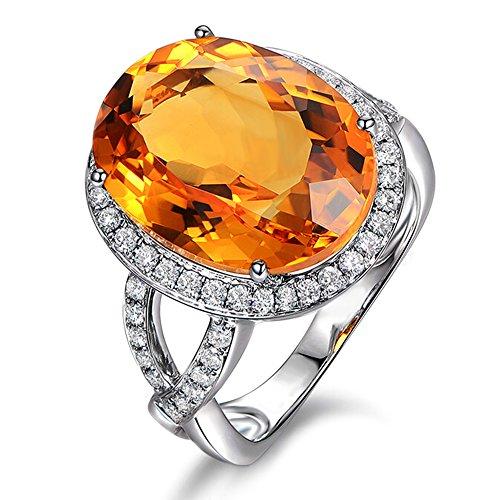 elegant Citrin Diamant Solide 14K (585) Weißgold Zwei Schaft Halo Ring