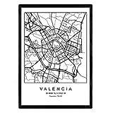 Lámina mapa de la ciudad Valencia estilo nordico en blanco y negro. Poster tamaño A3 Enmarcado con marco negro Impreso papel 250 gr. Cuadros, láminas y posters para salon y dormitorio