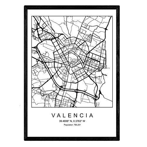 Nacnic Lámina Mapa de la Ciudad Valencia Estilo nordico en Blanco y Negro. Poster tamaño A3 Sin Marco Impreso Papel 250 gr. Cuadros, láminas y Posters para Salon y Dormitorio