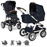 ABC Design Viper 4 Cochecito bebe 2 piezas con accesorios - Silla de paseo con capazo y carrito bebe - incl. mosquitera, plástico para la lluvia y parasol - Azul Shadow