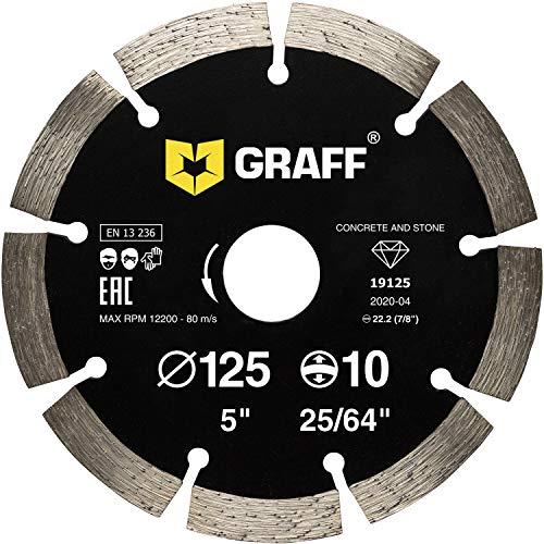 GRAFF Diamantscheibe 125mm für Beton, Granit, Bordstein, Natur- und Kunststein - Standard Diamanttrennscheibe für Winkelschleifer und Flex - Segmenthöhe 10mm