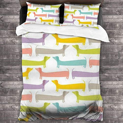 Colorido juego de ropa de cama de 3 piezas de 218 x 177 cm, juego de edredón para cama de matrimonio con 2 fundas de cojín cuadradas para habitación de invitados de los niños