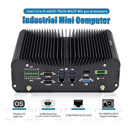 HISTTON Fanless Mini PC Industrial Mini Computer Windows 10 Pro, Intel Core i7-4500U DDR3 8GB RAM, 128GB SSD 14Pin GPIO RS232 COM LPT PS/2, LAN, HDMI, VGA, WiFi