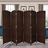 RHF 6 ft. Tall- 19' X Wide-Diamond Weave Fiber Room Divider,Double Hinged,6 Panel Room Divider/Screen, Room Dividers and Folding Privacy Screens 6 Panel, Freestanding Room Dividers-Dark Coffee 6 Panel
