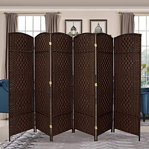 Buy Discount RHF 6 ft. Tall- 19 X Wide-Diamond Weave Fiber Room Divider,Double Hinged,6 Panel Room ...