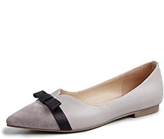 Flat Single Shoes Female Leather Pointed Bow Korean Women's Shoes Shallow Mouth Low with Wild Women's Small Shoes Women's New (Color : Gray, Size : 39)