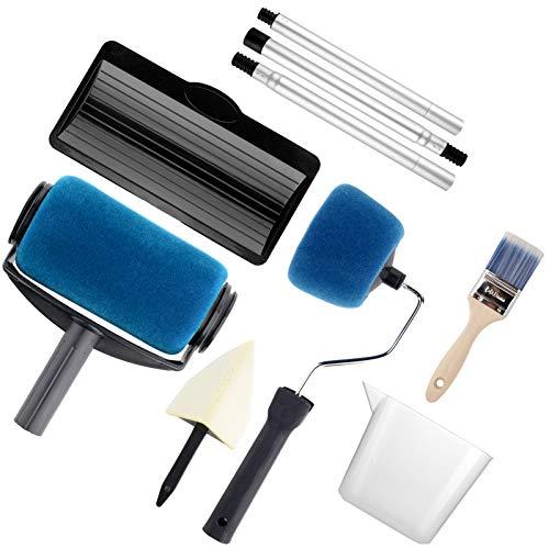 Paint Roller Set- Paint Brush, Paint Tray, Rollers Stick, Paint Edger, Paint Roller Pro, 9 Piece DIY Home Wall Decorate Runner Pro Paint Roller Brush Painting Handle Tool