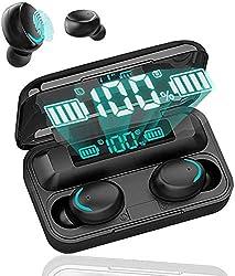 ★【Boîtier de charge portable avec affichage de la batterie LED】Ces écouteurs ont un écran LED de batterie clair et un boîtier de charge de 2000 mAh, qui affichent respectivement la puissance du boîtier de charge et les bouchons d'oreille gauche et dr...