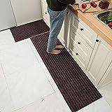 Moozic Küchenteppich -rutschfest Teppichläufer – Waschbar Küchenläufer – Pflegeleichte Teppich Küche – Vorleger Teppich – 40 x 120 cm / 40 x 60 cm 2 Stück,Braun - 2