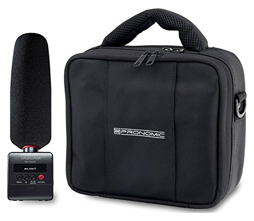 Tascam DR-10SG Kamera Audiorecorder Set (inkl. Windschutz und Pronomic Transporttasche) schwarz