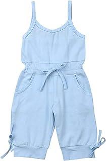 فتاة القوس سترة رومبير طفل طفل فتاة الحمالات بلا أكمام بذلة (Color : Blue, Kid Size : 4T)