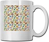 Kinder-Teetasse aus Porzellan, kariert, mit Punkten in Quadraten, diagonal, geometrisch, Retro-Stil, dekorative Tasse, Ringelblume, Scharlachrot, Himmelblau, 325 ml, 325 ml