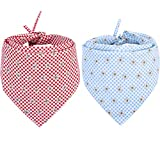 KZHAREEN 2 PCS/Pack Dog Bandana Reversible Triangle Bibs Scarf Accessories for Dogs Cats Pets