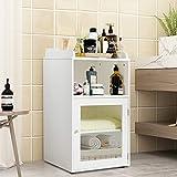 wood and glass panel main door - Tangkula Bathroom Floor Cabinet, Wooden Storage Cabinet for Home Office Living Room Bathroom, W/Tempered Glass Door Adjustable Shelf Organizer, White