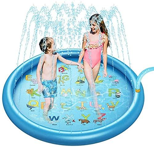 LBWARMB Piscinas hinchables 68'Sprinkler más Grande para niños, Almohadilla de Salpicaduras, Juguetes de Agua inflables al Aire Libre, Juguetes de Agua para niños, Juguetes para bebés, Balneario