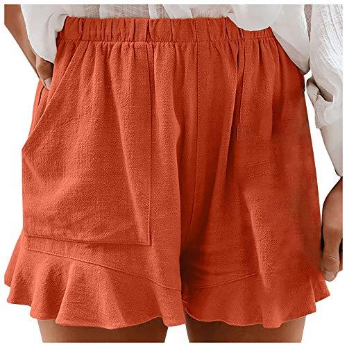 YANFANG Pantalones Cortos de algodón y Lino de Cintura Alta de Color sólido para Mujer Pantalones Cortos de Playa Casuales con cordón Ajustable Talla Grande