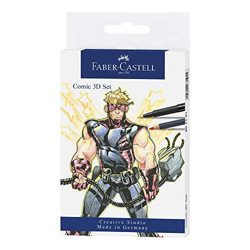 11-piece Comic Illustration 3D set from Faber-Castell Developed with professional comic illustrators Various materials to develop dimention in your characters Includes a white Pitt Artist pen for highlights Assorted grays and black Pitt Pens for dept...