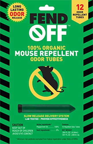 FEND OFF Mouse Repellent Peppermint Tubes, 12pk,...