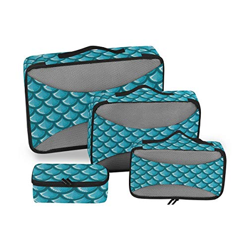 Mermaid Scales 4pcs Toiletry Bag for Men and Women Travel Organizer for Makeup and Toiletries Case for Cosmetics and Toilet Accessories
