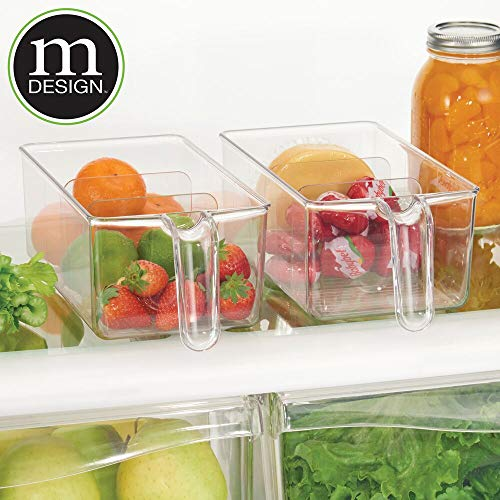 mDesign Plastic Kitchen Pantry Cabinet Refrigerator Food Storage Organizer Bin Holder with Handle - for Organizing Individual Packets, Snacks Food, Produce, Pasta - Medium, 2 Pack - Clear