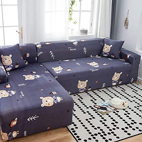 AYWJ Sofá Funda Antideslizante Estiramiento Rejilla geométrica Funda para sofá Impresa Poliéster Suave con Fondo elástico Sofá Universal con Cubierta (Color : Color 17, Size : AA 90 * 145cm)