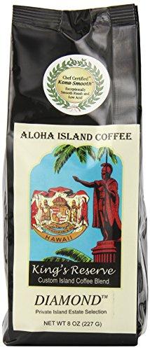 Aloha Island Coffee DIAMOND Organic 100% Pure Kona Coffee, 8 Oz Whole Bean, 8-ounces