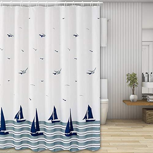Nasharia Duschvorhänge, Waschbar Badvorhänge aus Polyester, Wasserdicht Anti-Schimmel, Anti-Bakteriell mit 12 Duschvorhangringe Design, 180 x 200cm, Ozean