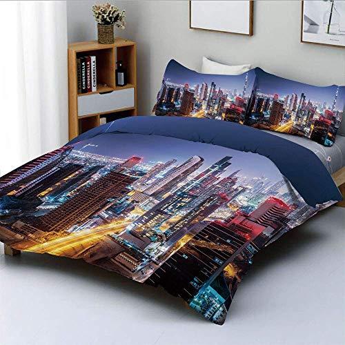 Juego de funda nórdica Nighttime at Dubai Vivid Display Emiratos Árabes Unidos Atracción turística Tema de viaje Juego de cama decorativo de 3 piezas con 2 fundas de almohada, multicolor, el mejor reg