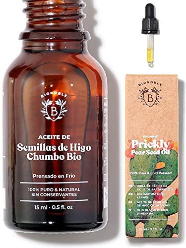 ACEITE DE HIGO CHUMBO ORGÁNICO | 100% Puro, Natural & Prensado en Frío | Cara, Cuerpo, Cabello, Barba, Uñas | Vegano y Cruelty Free | Botella de Vidrio + Pipeta (15ml)
