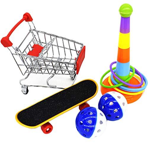 Balacoo 1 Set Papagei Training Aktivität Spielzeug Interaktives Papagei Spielzeug Mini-Einkaufswagen Trainingsringe Skateboard Stand Barsch für Vogel Papagei (Zufällige Farbe)