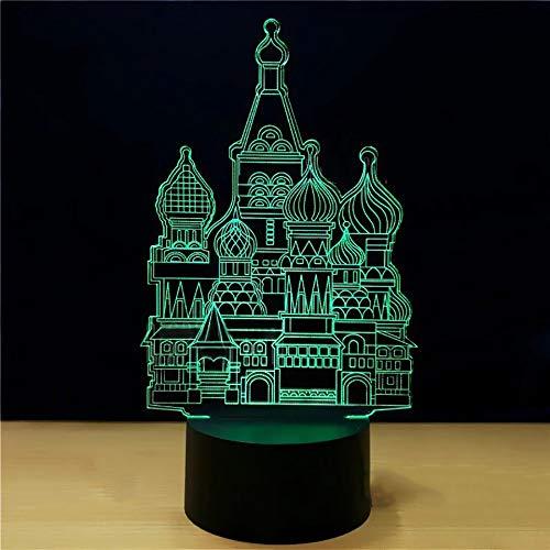 Luz De Noche Creativo 3D Arquitectura Islámica Modelado Led Lámpara De Mesa 7 Colores Cambian La Atmósfera Gradiente Luz De Noche Decoración Para El Hogar Regalos De Luz