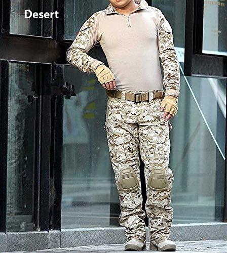 HXSZWJJ Tácticas De Camuflaje Ropa Militar Juego De Los Hombres del Ejército De EE.UU. Ropa De La Camisa del Combate Militar Carga De Ratón Pantalones De La Rodilla (Color : Desert, Size : L)