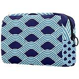 ATOMO Bolsa de maquillaje, bolsa de viaje cosmética grande bolsa de aseo organizador de maquillaje para mujeres, azul claro ola de agua