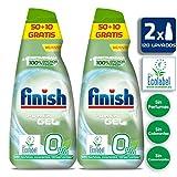 Finish 0% Gel Detergente para Lavavajillas Ecológico, con Certificado Ecológico - Duplo 2 x 60 Dosis (120 Dosis)