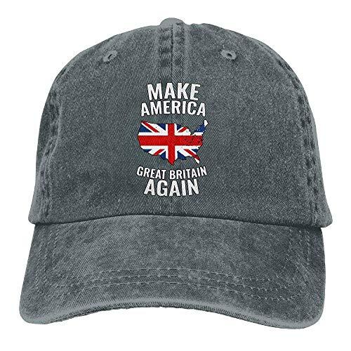 DLing Gorra de béisbol para hombre y mujer, Make America Great Britain Again-1 de algodón ajustable para mujer