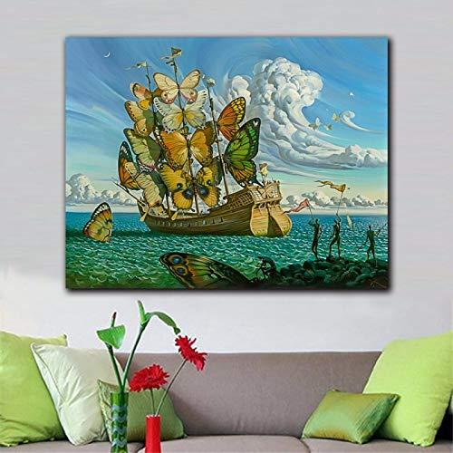 HSFFBHFBH Arte de la Pared de Moda Salvador Dali Pintura Mariposa Barco Imágenes de la Pared para la Sala de Estar Decoración del hogar Pinturas Impresas 60x70cm (24'x28) Sin Marco
