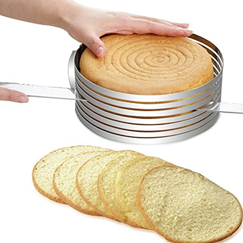 Cake Slicer Ring Cake Leveler Cake Slicer Adjustable Cake Rings, Stainless Steel Adjustable 7 Layered Bread Cutter Ring, 6-8 Inch Stainless Steel Round Bread Cake Slicer Cutter Mold Cake Tools