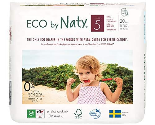 Couches-culottes Eco by Naty, Taille 5, 20 couches, 12-18 kg, Couches-culottes écologiques Premium à base de végétaux sans produits chimiques nocifs