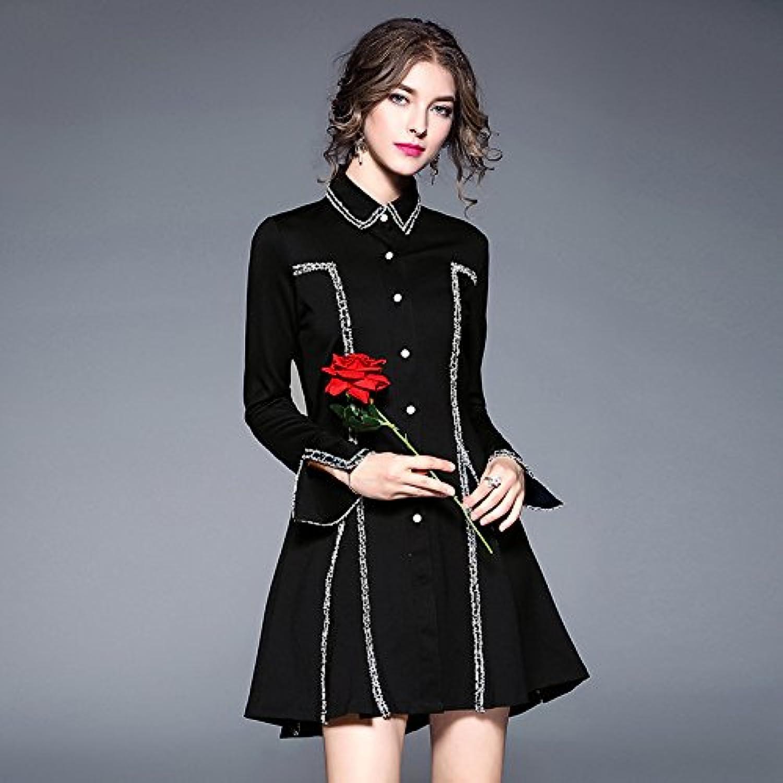 GX eine schmale, tailliertes Kleid mit Langen ärmeln Schwarze Schwarze Schwarze Frauen Temperament im frühjahr und Herbst,schwarz,m B078SLBDPD  Hat einen langen Ruf 56b7fe