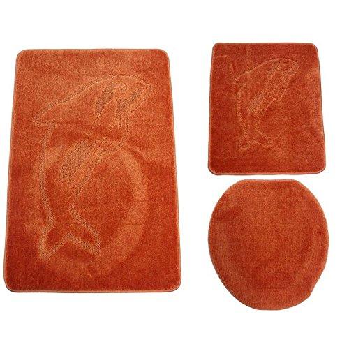 3-delige Badkamerkit in terracotta badmatten, badgarnituur, badtapijt, matten, incl. wc-mat