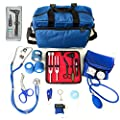 ASATechmed Nurse Starter Kit Stethoscope Blood Pressure Monitor and More - 18 Pieces Total (Blue)