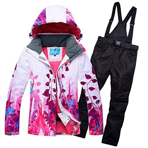 LFFCC Damen Snowboard Skihose/Jacke, Wind- Und wasserdichte Snowboard Bunte Ski-Jacke Und Hose Set,Schwarz,XXL