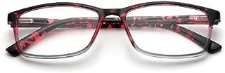Aiweijia Women and Men Rectangle Reading Glasses Spring Hinge Resin lenses