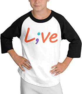 Printed Suicide Prevention Awareness Live Love Semicolon Teenager Boy Kawaii Long Sleeves T-Shirts