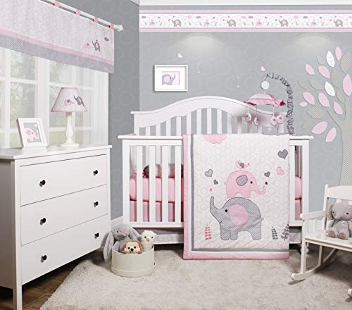 OptimaBaby Bumperless 5-Piece Bedding Crib Sets for Girl - Modern Nursery Crib Sets Bedding Ideas for Christening, Birthday, Christmas (Elephant Woodland Forest)
