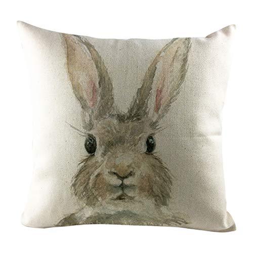 NEEKY Ostern Kissenbezug Kaninchen Hasen mit Eiern Kissenbezug, Frühling Baumwolle Leinen Schlafsofa werfen Kissenbezug Dekoration Happy Easter Dekorative Dekokissen